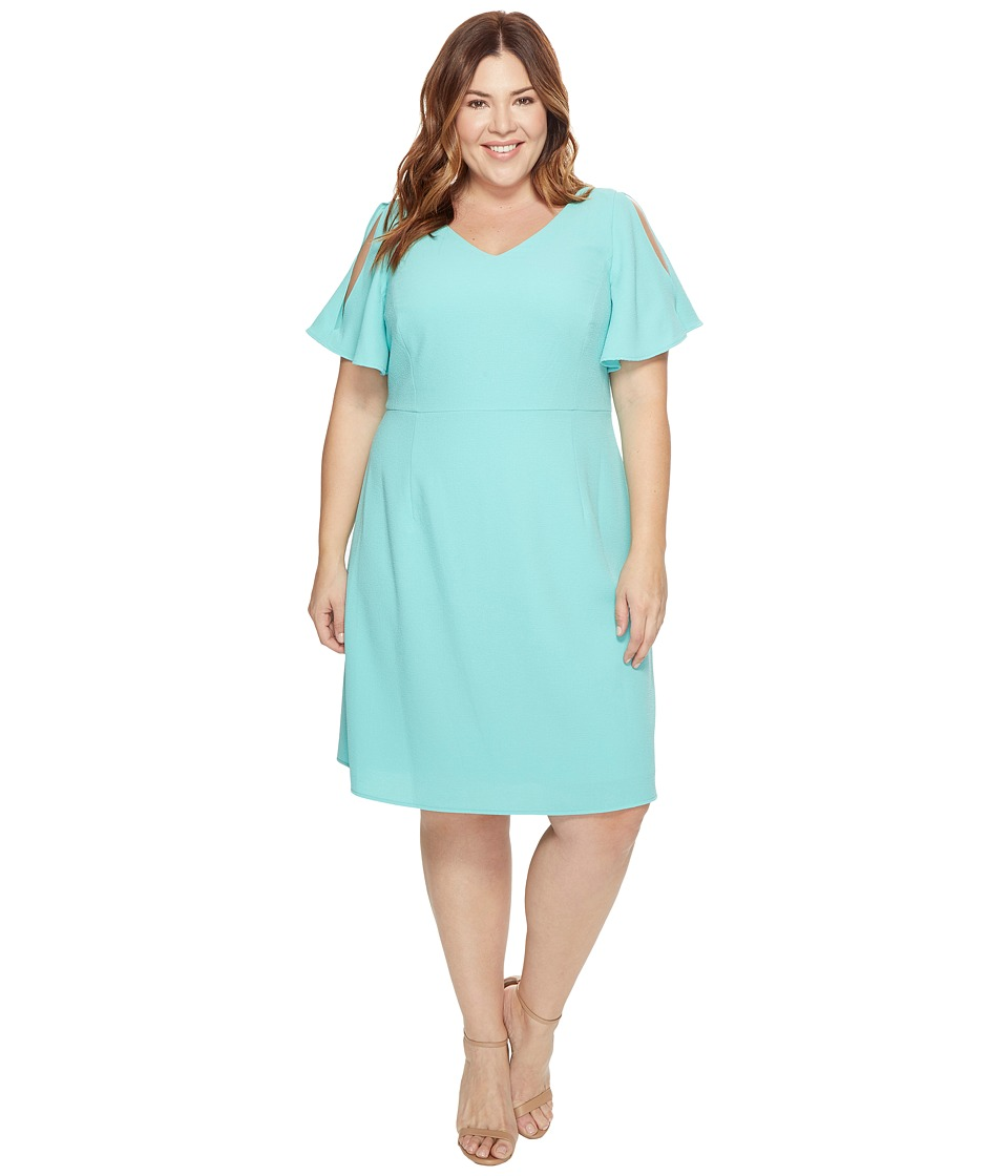 Adrianna Papell - Plus Size Cold Shoulder Flared Sleeve Fit and Flare (Aruba Blue) Women's Dress