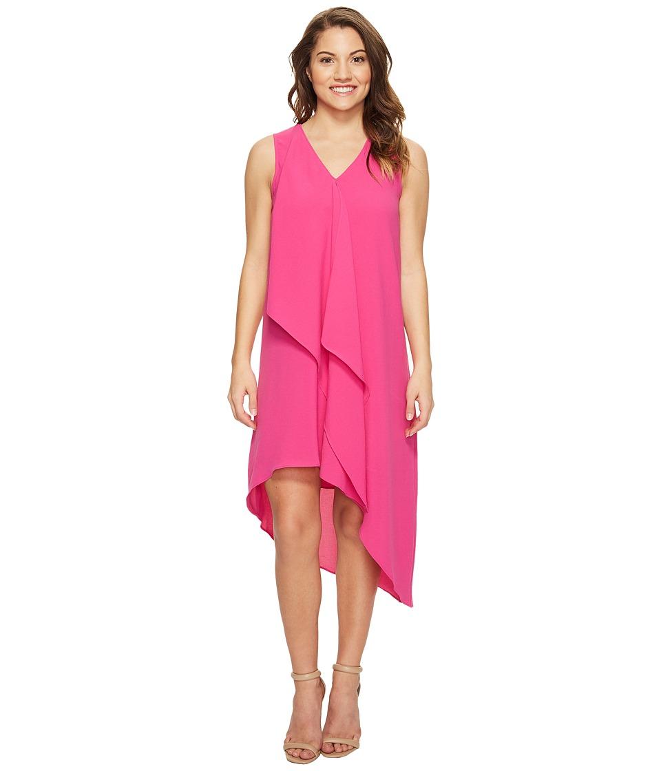 Adrianna Papell Petite Asymmetrical Front Drape Dress (Hot Pink) Women