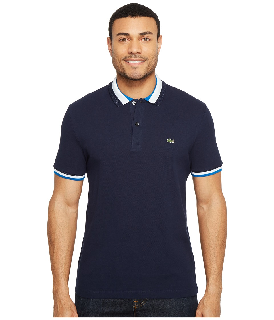 Lacoste - Short Sleeve Semi-Fancy Slim w/ Textured Stripe Collar Slim (Navy Blue/Sapphire Blue) Men's Clothing