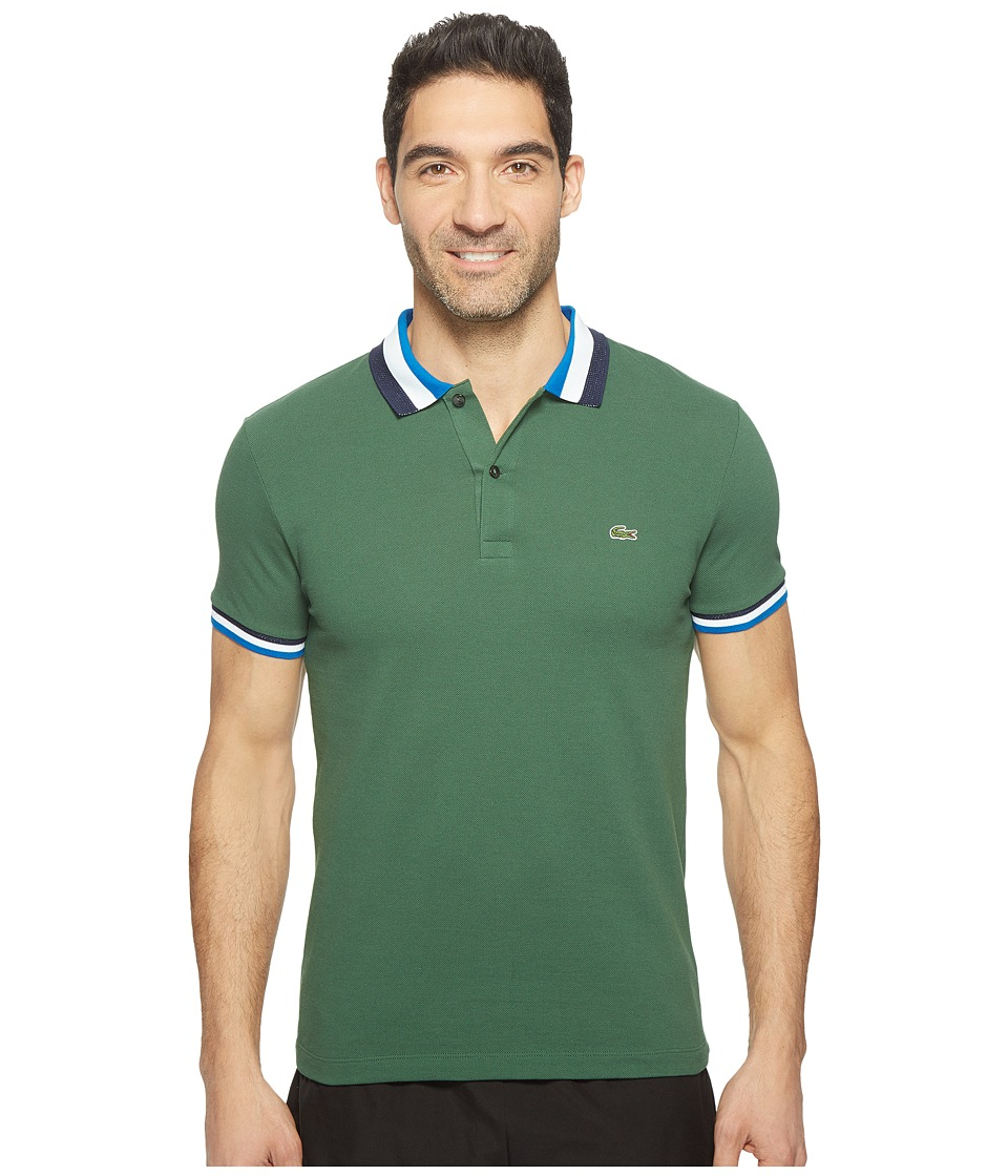 Lacoste - Short Sleeve Semi-Fancy Slim w/ Textured Stripe Collar Slim (Green/Sapphire Blue) Men's Clothing