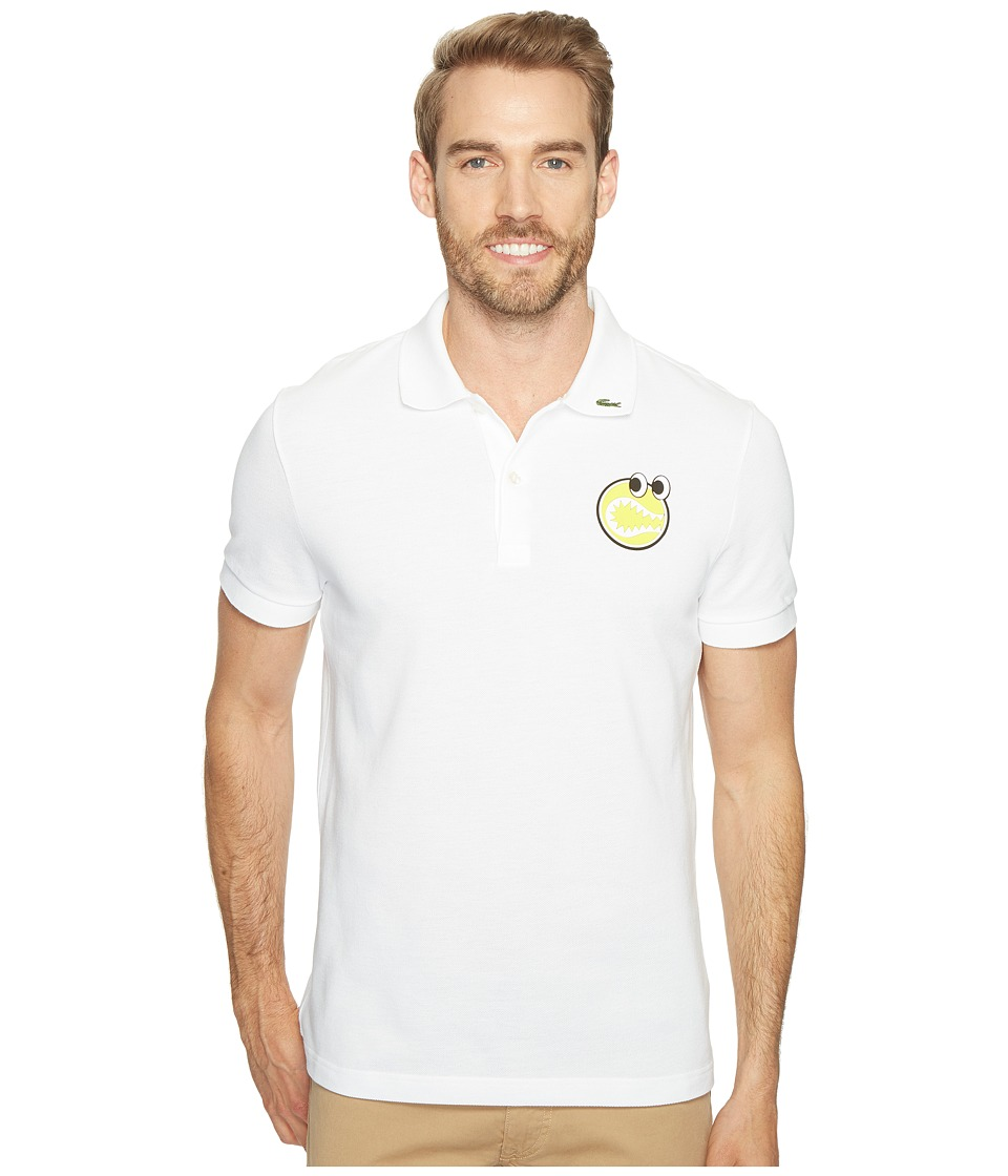 Lacoste - Yazbukey Short Sleeve Pique with Googly Eyes Graphic (White) Men's Clothing