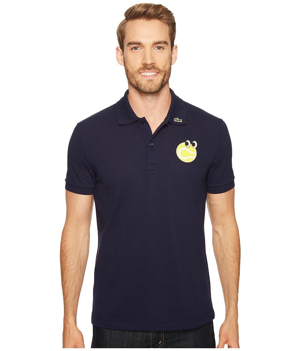 Lacoste - Yazbukey Short Sleeve Pique with Googly Eyes Graphic (Navy Blue) Men's Clothing