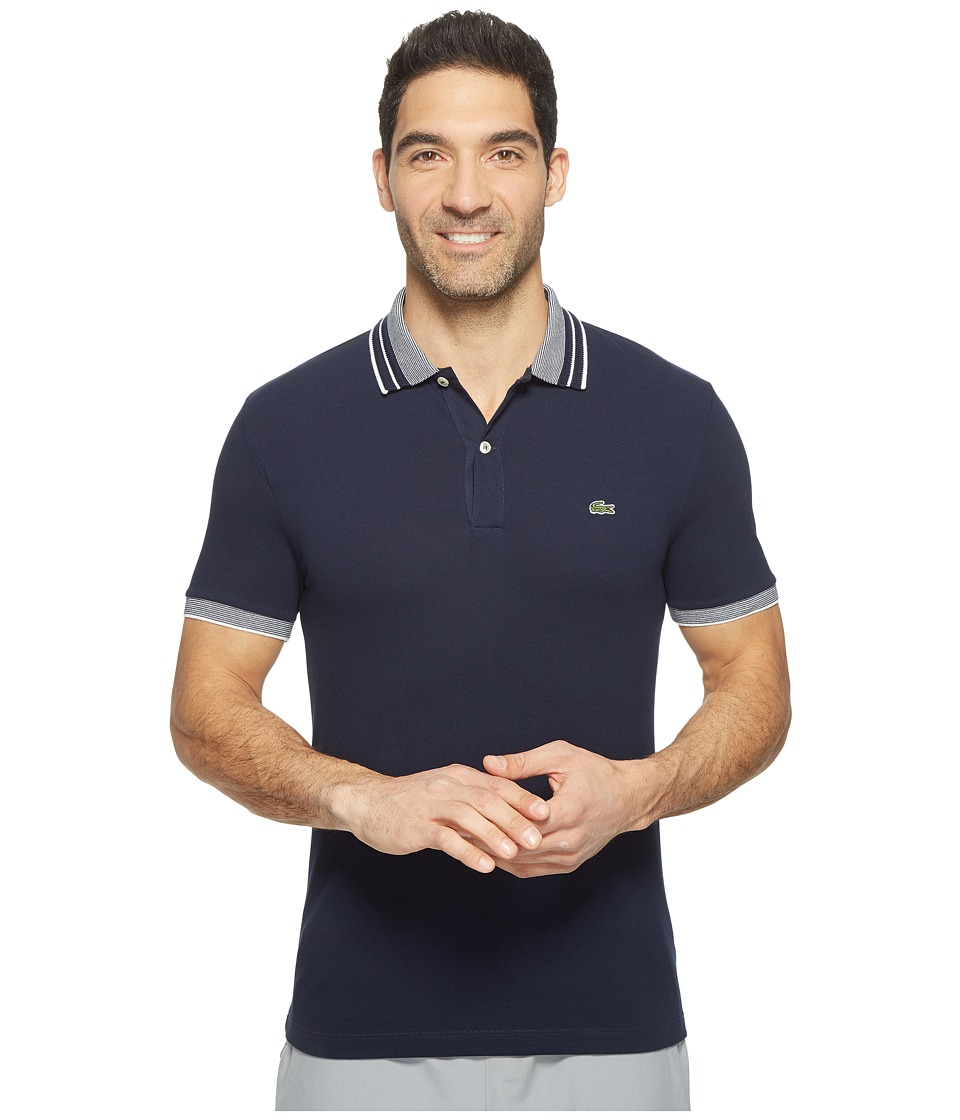 Lacoste - Short Sleeve Semi-Fancy Stretch w/ Fine Stripe Rib Slim (Navy Blue/White) Men's Clothing