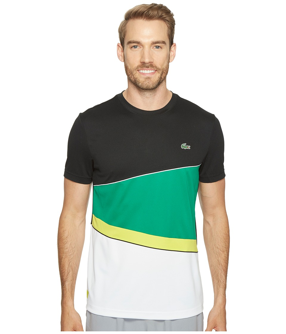 Lacoste - T2 Geometric Stripe Ultra Dry Tee (Black/Woodland Green/Lemon Tree/White) Men