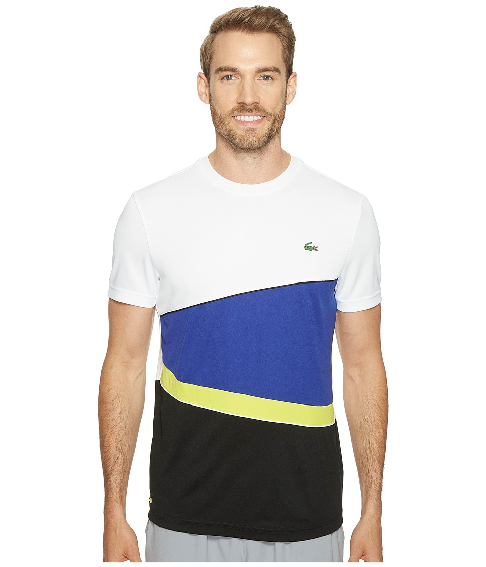 Lacoste - T2 Geometric Stripe Ultra Dry Tee (White/France/Lemon Tree/Black) Men's T Shirt