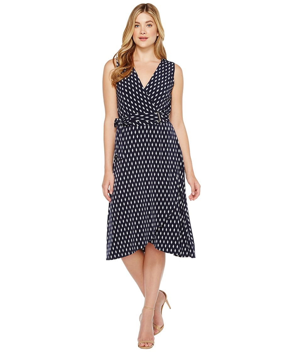 Ivanka Trump - Matte Jersey Printed Midi Faux Wrap (Navy/Ivory) Women's Dress
