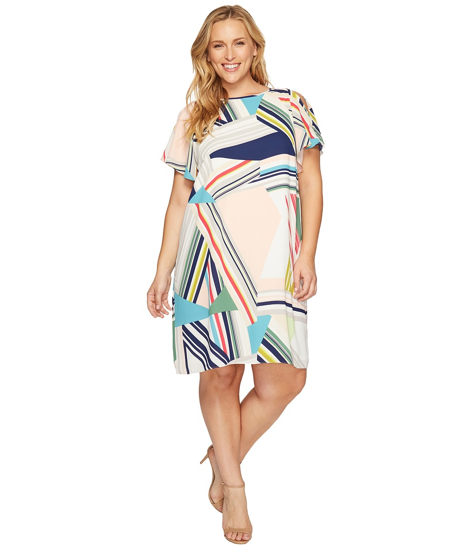 Adrianna Papell Plus Size Striped Maze Printed Trapeze Cold Shoulder Dress (Blue/Green Multi) Women