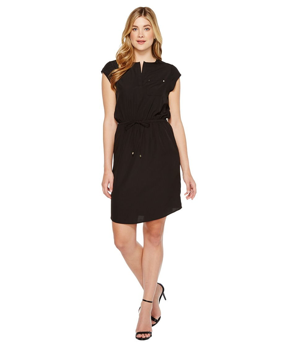 Ivanka Trump - Short Sleeve Slit Neck Tie Waist Dress (Black) Women's Dress