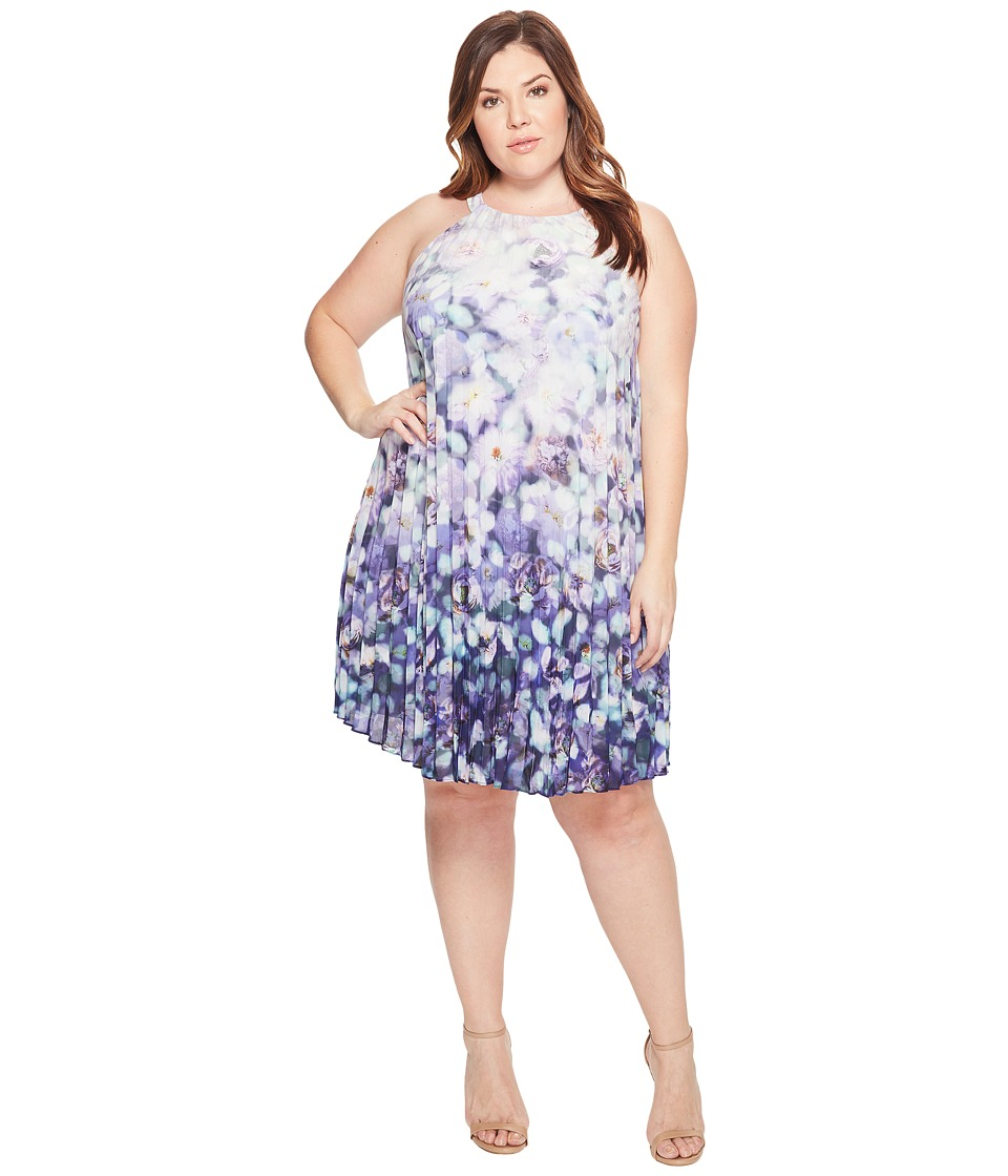 Adrianna Papell - Plus Size Printed Stretch Chiffon Pleated Trapeze Dress (Purple Multi) Women's Dress