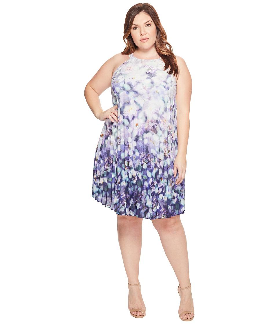 Adrianna Papell Plus Size Printed Stretch Chiffon Pleated Trapeze Dress (Purple Multi) Women