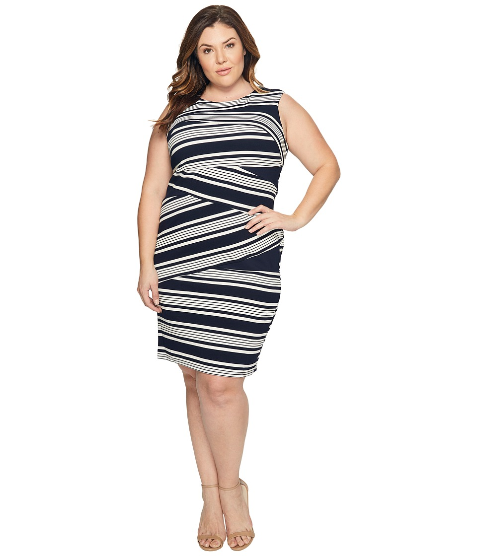 Adrianna Papell - Plus Size Sleeveless Stripe Bodycon Dress (Blue Moon/White) Women's Dress