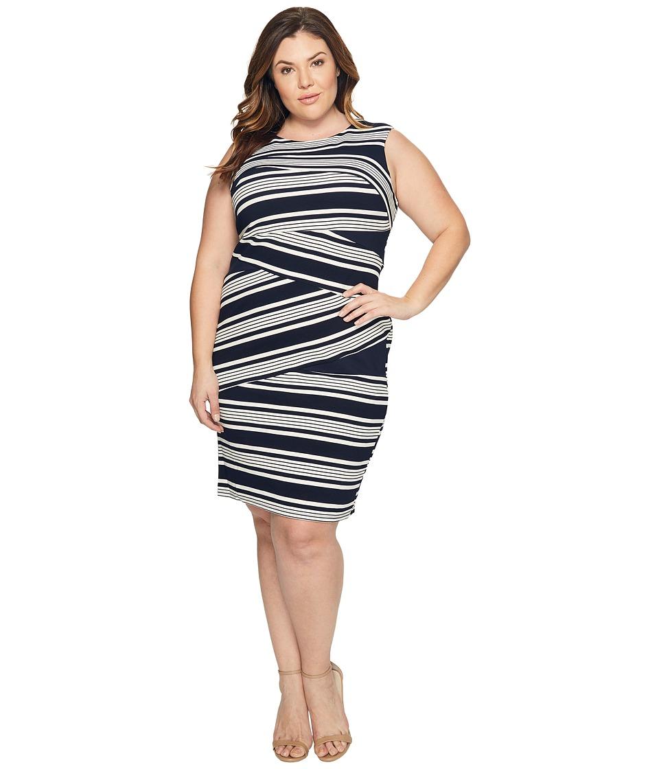 Adrianna Papell - Plus Size Sleeveless Stripe Bodycon Dress (Blue Moon/White) Women's Dress