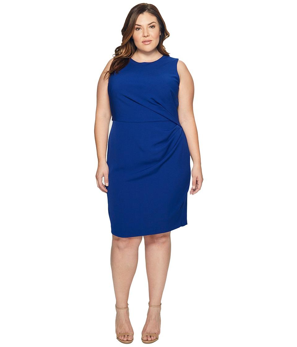 Adrianna Papell Plus Size Stretch Crepe Tucked Waist Detail Sheath Dress (Ultra Marine) Women