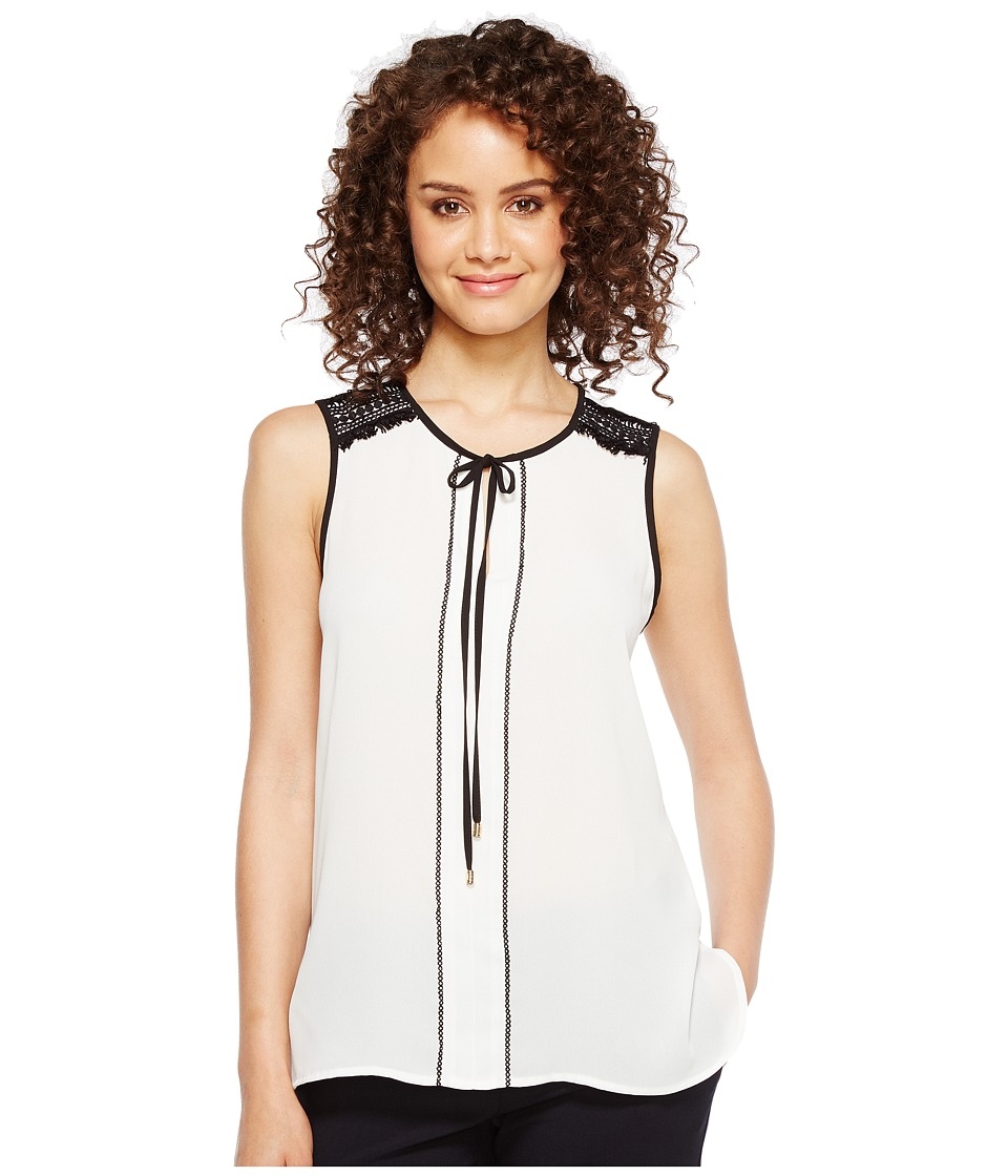 Ivanka Trump - Sleeveless Georgette Neck Tie Blouse with Piping (Ivory/Black) Women's Blouse