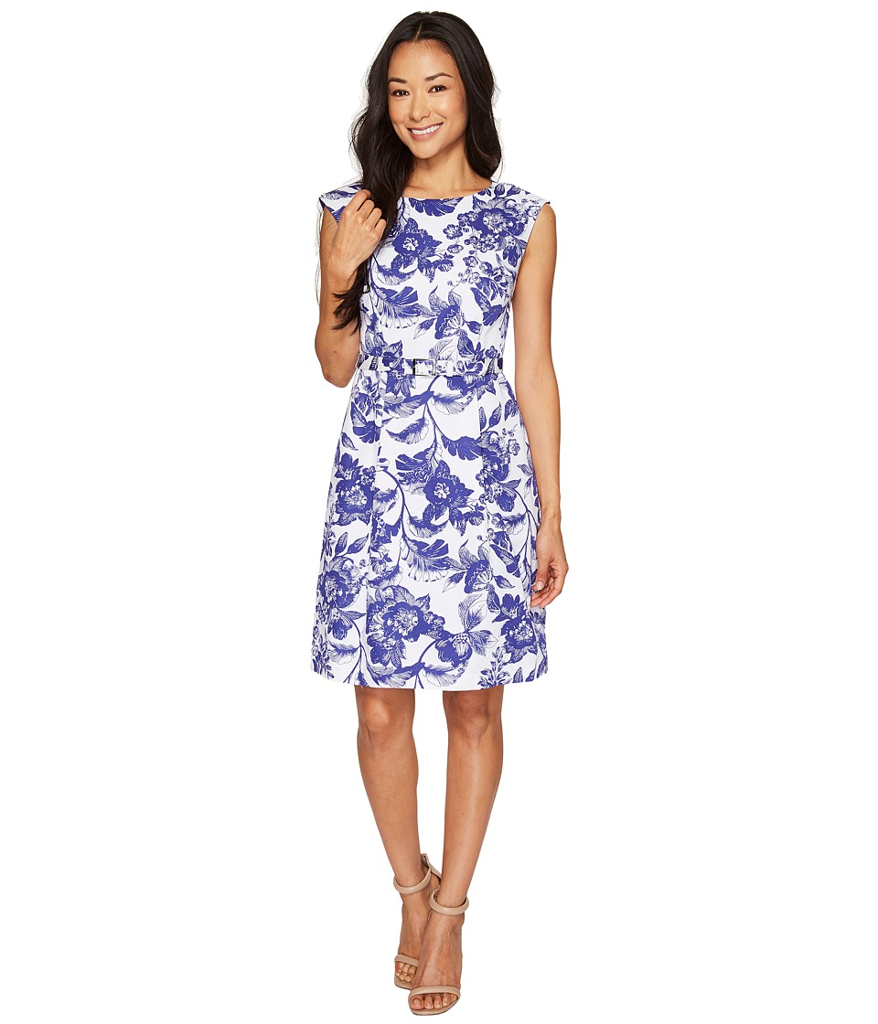 Adrianna Papell - Petite Printed Cotton Faille Belted Fit and Flare (Ivory/Cobalt) Women's Dress