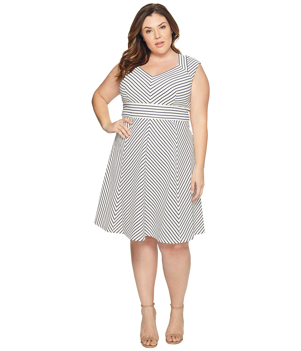 Adrianna Papell - Plus Size Cap Sleeve Stripe Fit and Flare (White/Blue Moon) Women's Dress