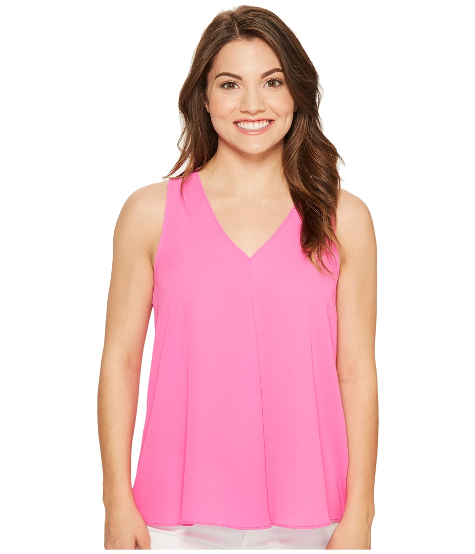 Vince Camuto Specialty Size - Petite Sleeveless V-Neck Drape Front Blouse (Flamingo Pink) Women's Blouse