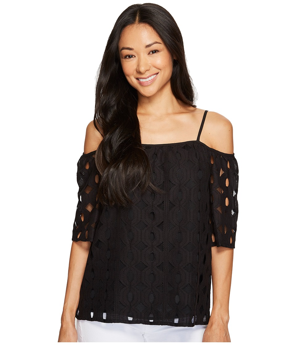 Vince Camuto Specialty Size - Petite Elbow Sleeve Cold-Shoulder Cable Lace Blouse (Rich Black) Women's Blouse