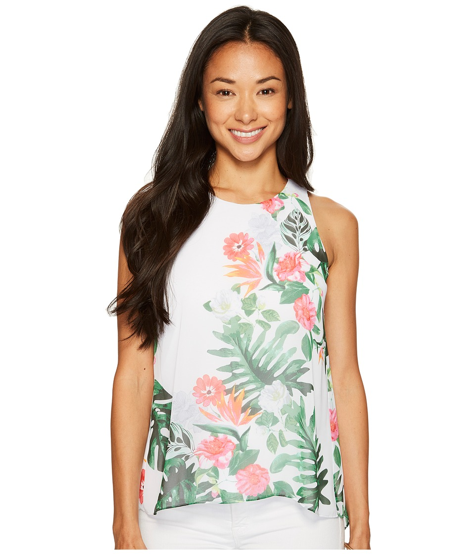 Vince Camuto Specialty Size - Petite Sleeveless Havana Tropical High-Low Hem Blouse (Ultra White) Women's Blouse