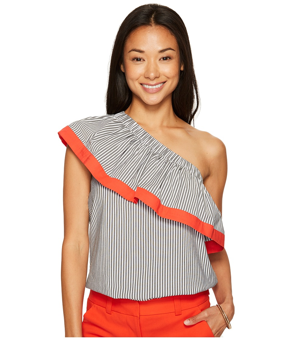 Vince Camuto Specialty Size - Petite Ruffled One-Shoulder Stripe Blouse (Rich Black) Women's Blouse