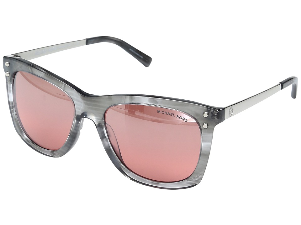 Michael Kors - Lex MK2046 54mm (Grey Floral/Red/Silver Flash) Fashion Sunglasses