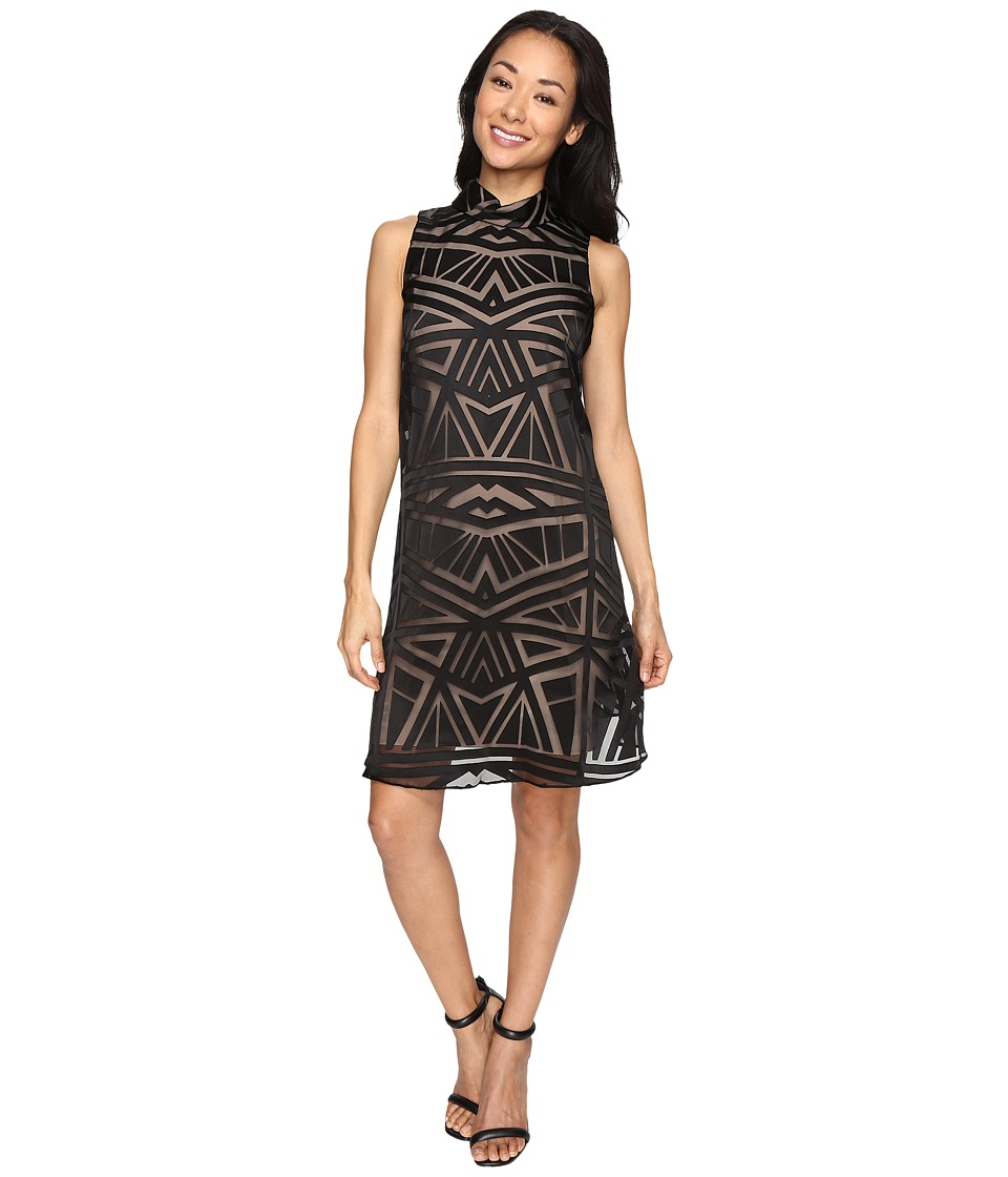 Vince Camuto - Roll Collar Float w/ Fitted Under Dress (Black/Tan) Women's Dress