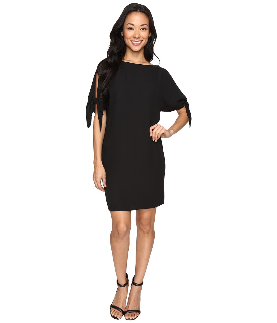 Vince Camuto Crepe Shift Dress w/ Knotted Sleeve (Black) Women