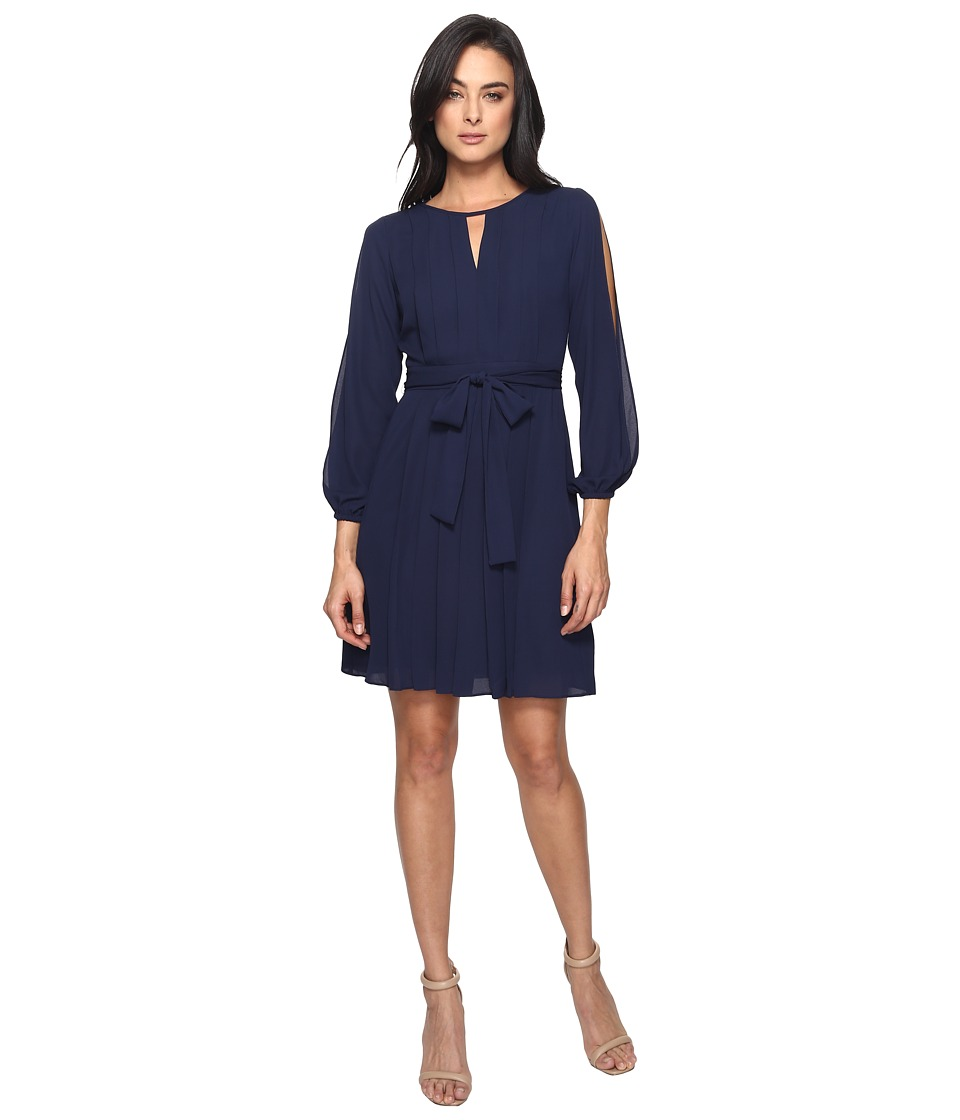 Vince Camuto - Georgette Long Sleeve Cold Shoulder Blouson w/ Pleats (Navy) Women's Dress