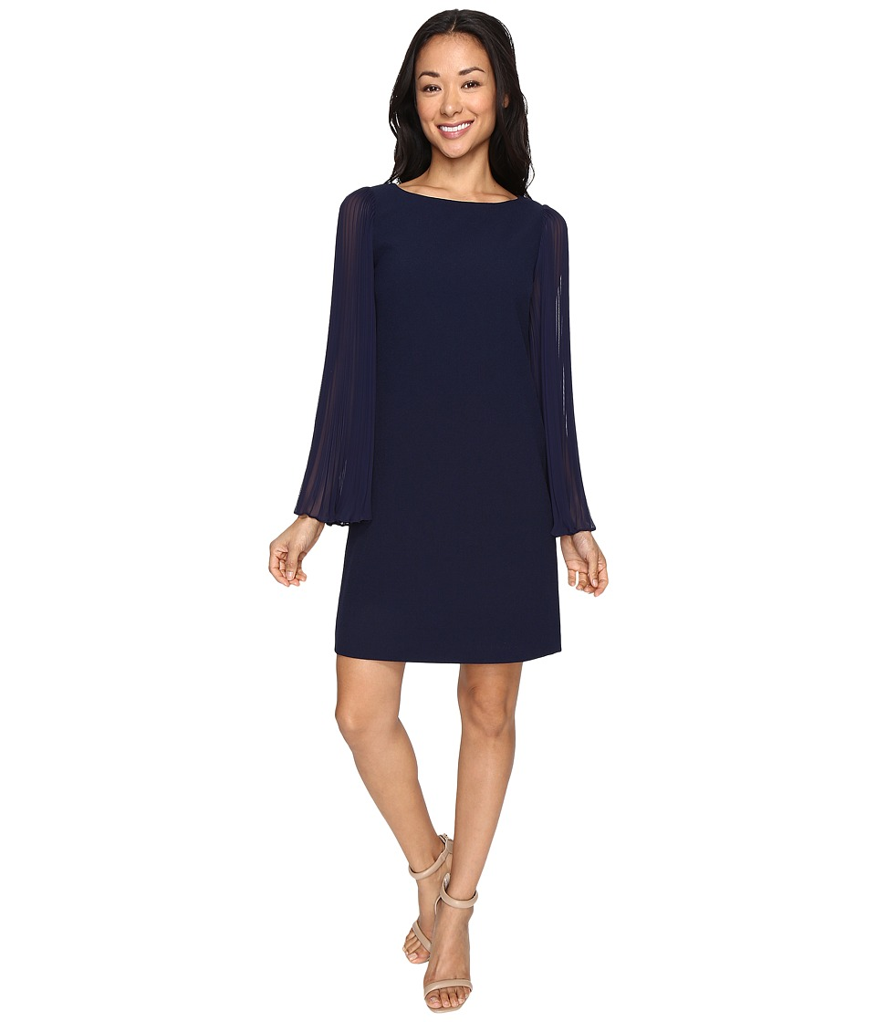 Vince Camuto - Crepe Chiffon Shirt Dress w/ Overlay Pleated Sleeves (Navy) Women's Dress