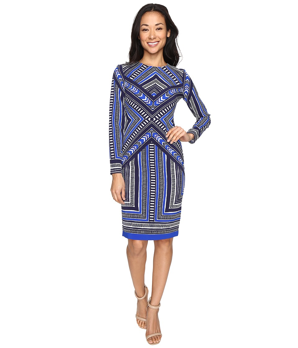 Vince Camuto - Pleated Crepe Long Sleeve Bodycon Dress (Navy) Women's Dress
