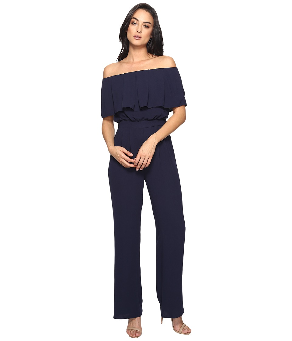 Vince Camuto - Moss Crepe Off the Shoulder Jumpsuit (Navy) Women's Jumpsuit & Rompers One Piece