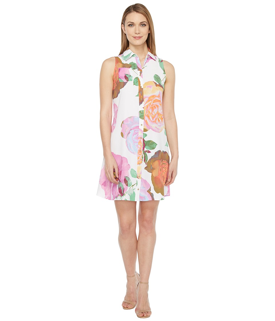 Calvin Klein - Floral Button Front Trapiz Dress (Pink Multi) Women's Dress