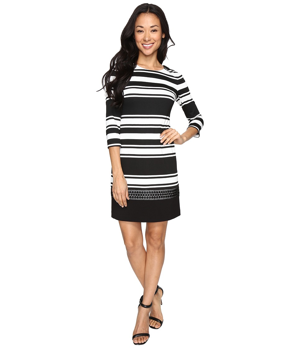 Vince Camuto - Stripe Knit 3/4 Sleeve Shift Dress w/ Lace Trim (Black/White) Women's Dress