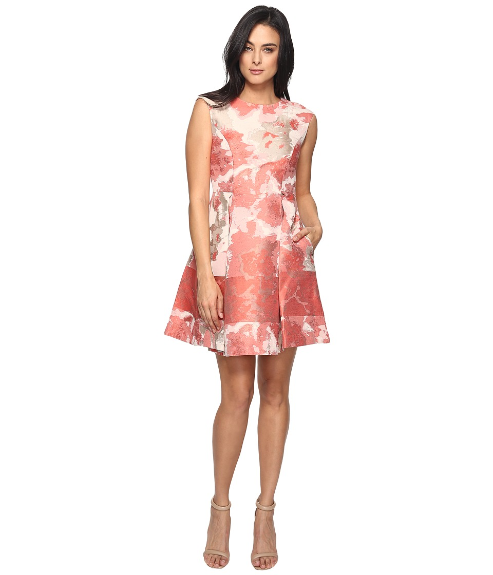 Vince Camuto - Jacquard Extended Cap Fit and Flare Dress (Pink) Women's Dress