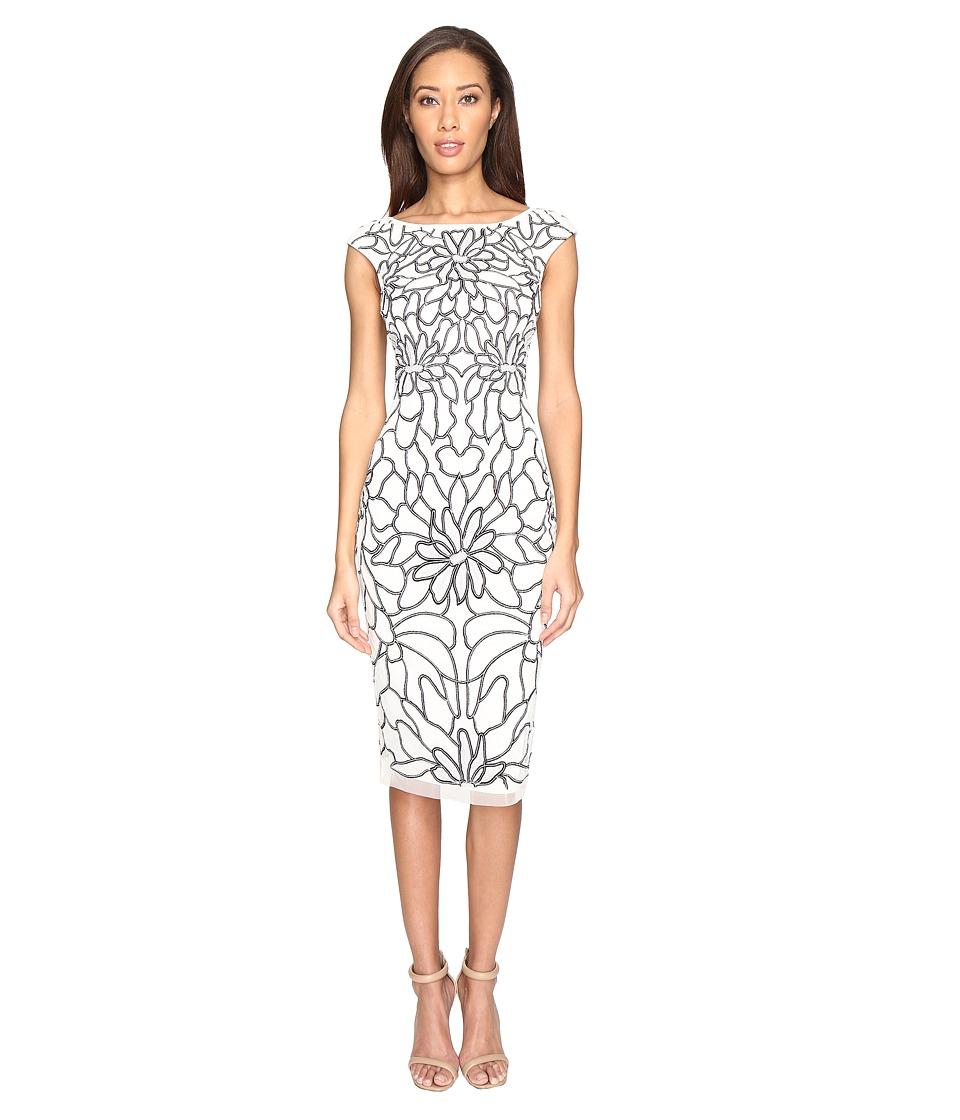 Adrianna Papell - Cap Sleeve Flower Beaded Dress (Ivory/Black) Women's Dress