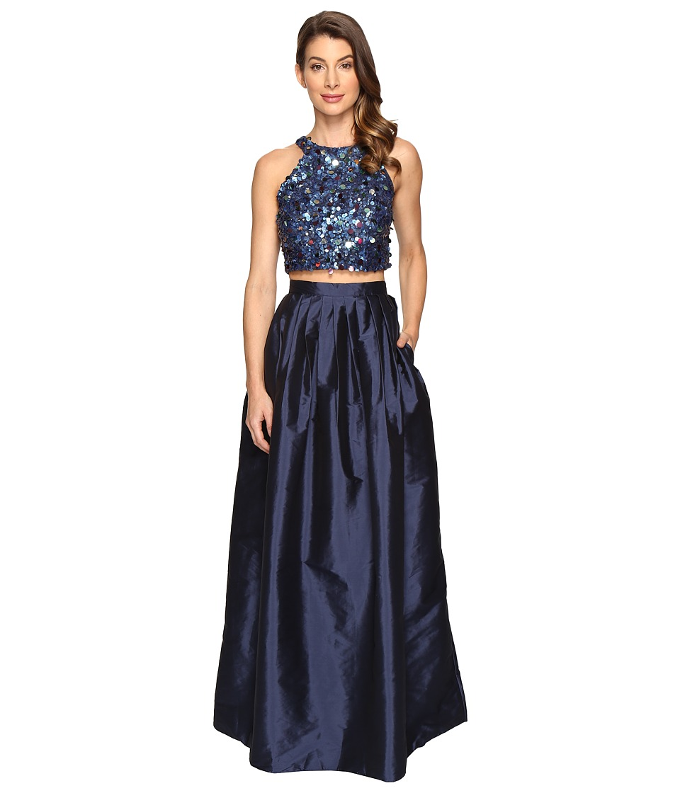 Adrianna Papell - Beaded Crop Dress (Twilight) Women's Dress