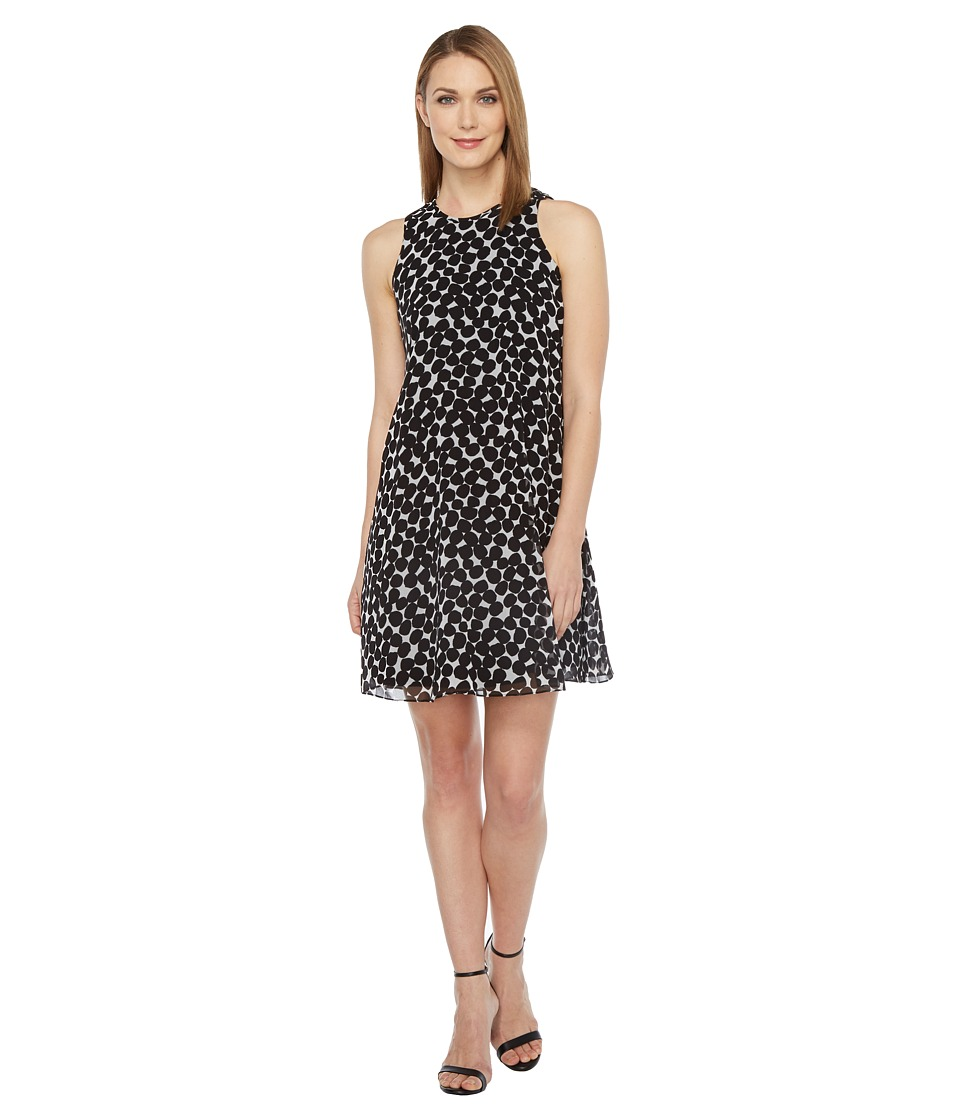 Calvin Klein - Polka Dot Trapiz Dress (Black/White) Women's Dress
