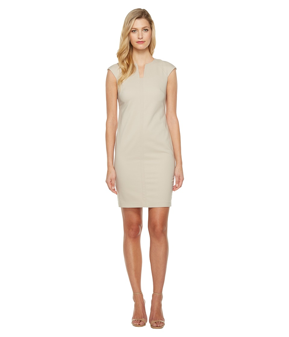 Calvin Klein - Cap Sleeve Sheath Dress (Khaki) Women's Dress