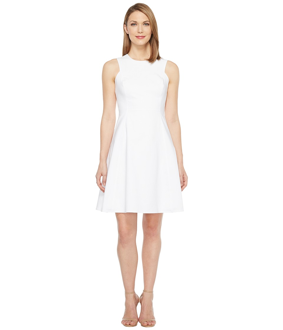 Calvin Klein - Square Armhole Fit Flare Dress (White) Women's Dress