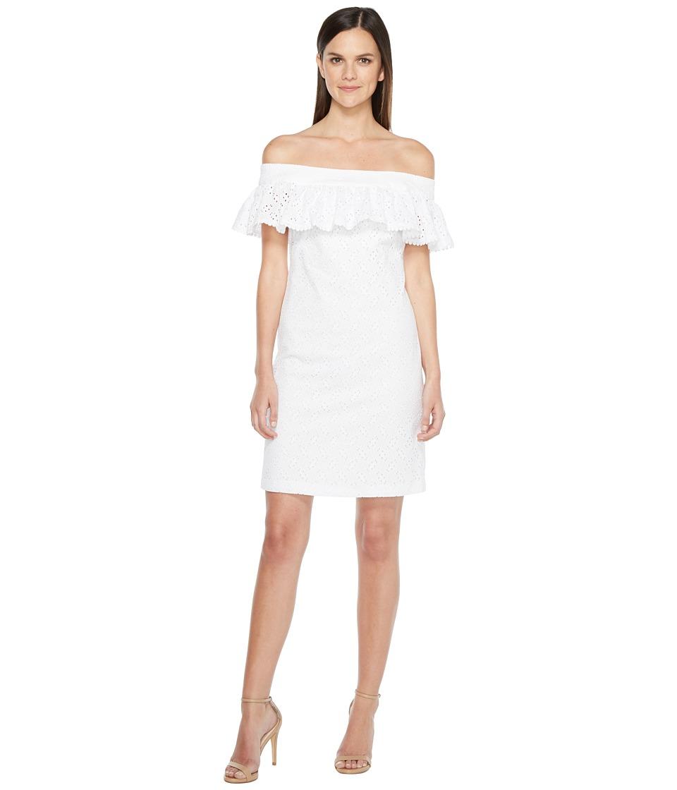 Calvin Klein Off Shoulder Cotton Eyelet Dress (White) Women