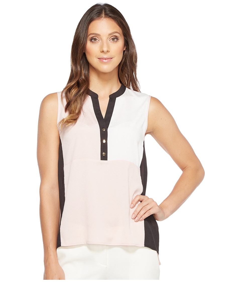 Ivanka Trump - Georgette Color Block Sleeveless with Buttons (Blush/Ivory/Black) Women's Sleeveless