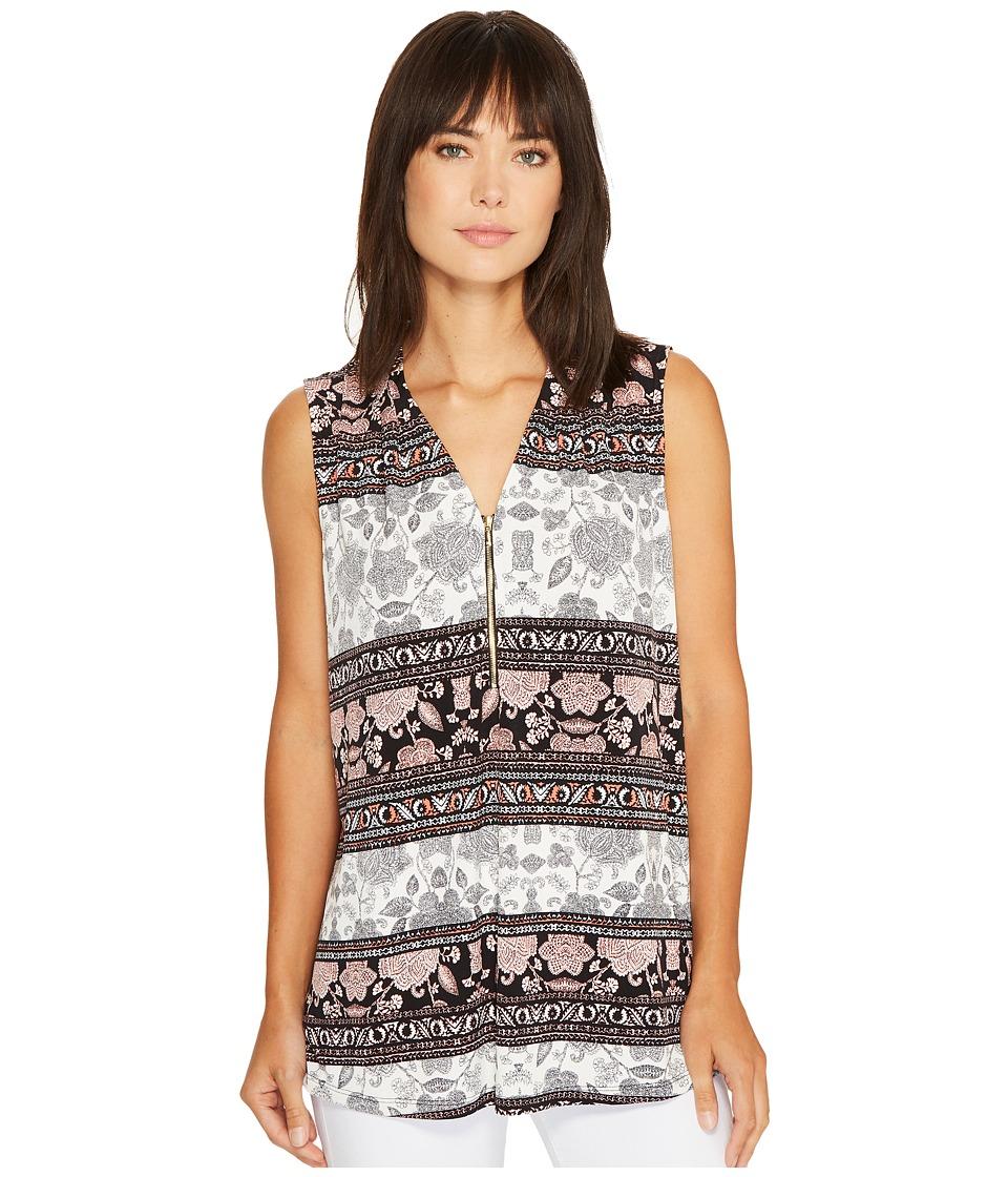 Ivanka Trump - Printed Matte Jersey Sleeveless V-Neck with Zipper (Black/Tart) Women's Sleeveless