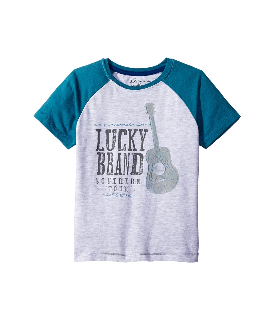 Lucky Brand Kids - South Tour Raglan Tee in Heathered Jersey (Toddler) (White Heather) Boy's T Shirt