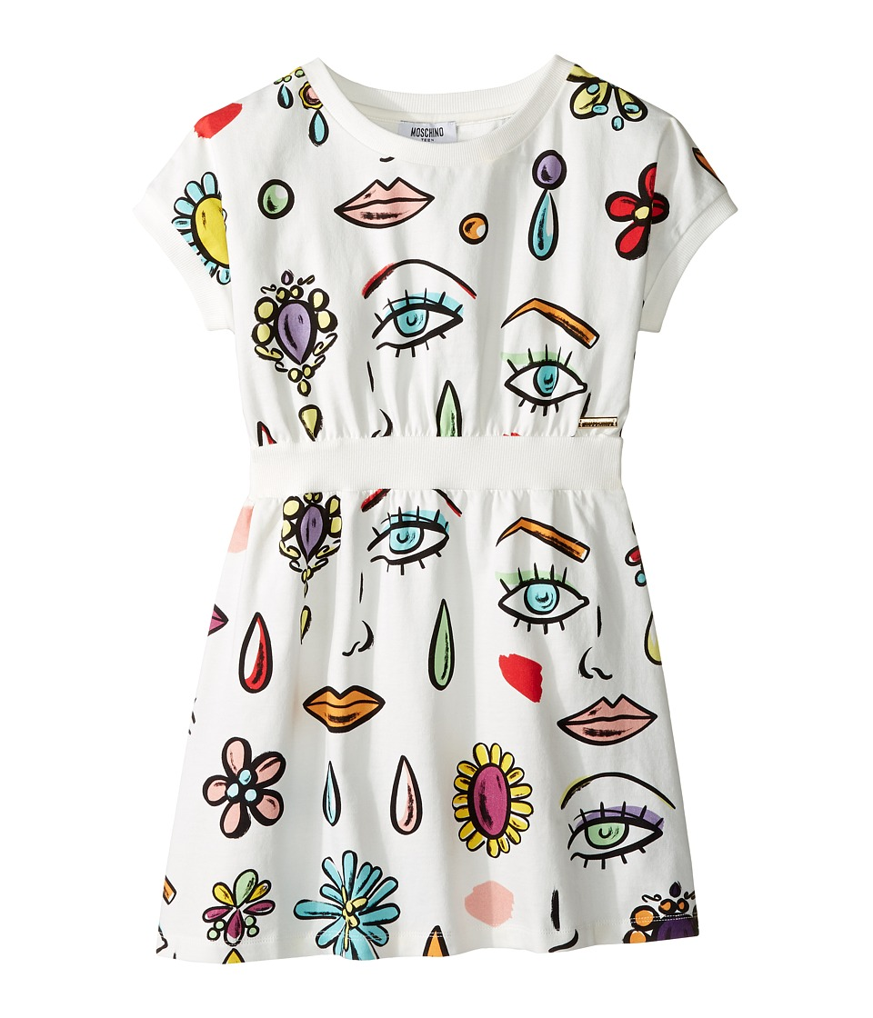 Moschino Kids - All Over Beauty Face Print Dress (Big Kids) (Multi) Girl's Dress