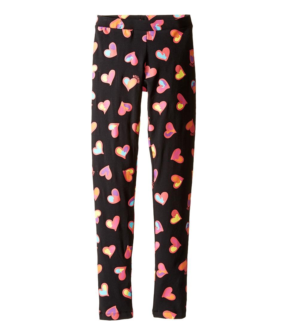 Moschino Kids - All Over Heart Print Leggings (Big Kids) (Black) Girl's Casual Pants