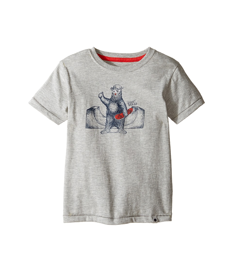Lucky Brand Kids - Skater Bear Short Sleeve Tee in Fleck Jersey (Toddler) (Heather Light) Boy's T Shirt