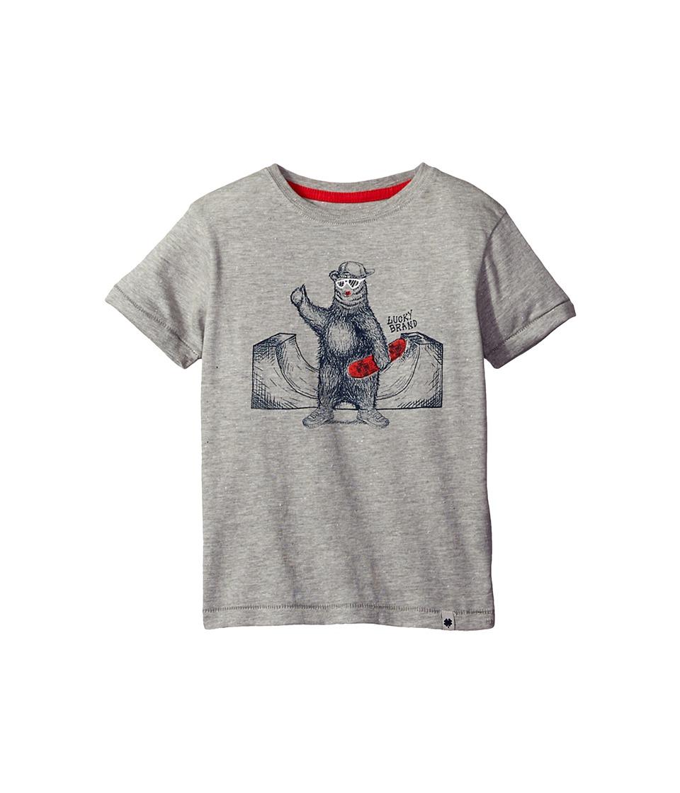 Lucky Brand Kids - Skater Bear Short Sleeve Tee in Fleck Jersey (Little Kids/Big Kids) (Heather Light) Boy's T Shirt