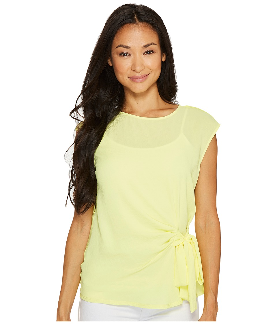Vince Camuto Specialty Size - Petite Sleeveless Mix Media Tie Front Blouse (Key Lime) Women's Blouse