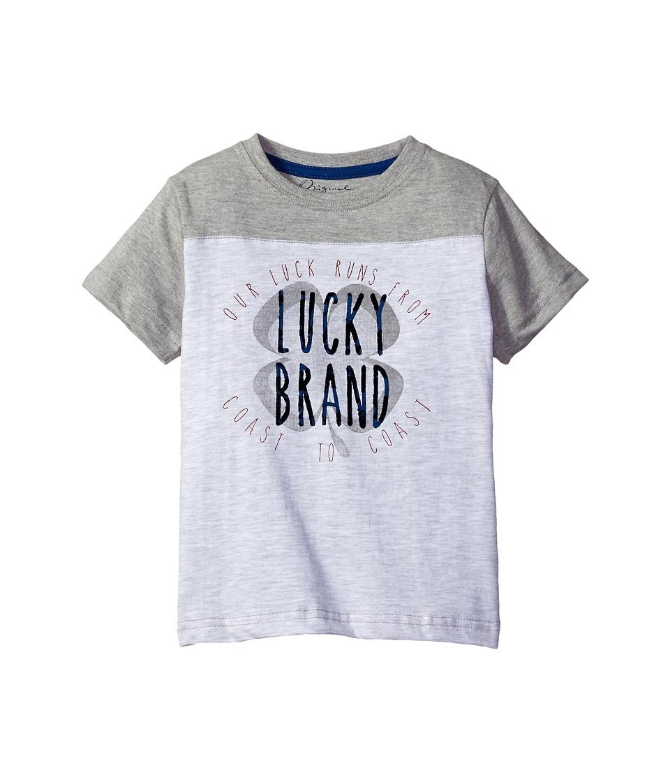 Lucky Brand Kids - Coastal Luck Short Sleeve Tee in Slub Heather Jersey (Little Kids/Big Kids) (White Heather) Boy's T Shirt