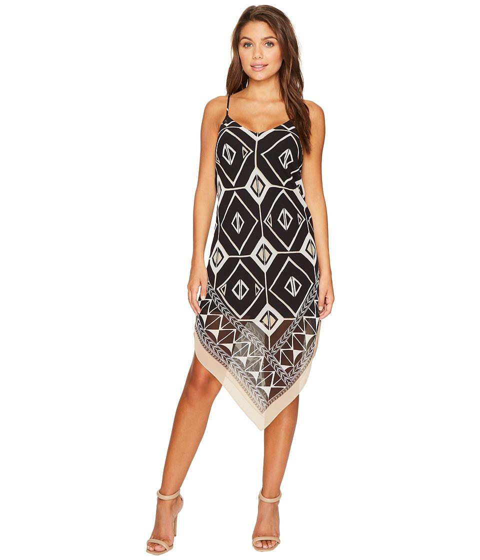 Vince Camuto Specialty Size Petite Nairobi Graphic Handkerchief Tank Dress (Tiramisu) Women